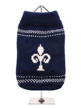 Fleur-De-Lis Sweater - The Fleur-De-Lis is the original symbol of the Kings and Queens of France, it is highlighted against the dark blue of the sweater to produce a truly regal style that not only looks good but is warm, functional and elegant.