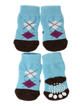 Blue / Black Argyle Pet Socks - These fun and functional doggie socks protect your dogs paws from mud, snow, ice, hot pavement, hot sand and other extreme weather. Made from 95% cotton and 5% spandex making them comfortable and secure. Each sock features a paw shaped anti-slip silica pad and help keep your house sanitary.