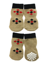 Brown / Red  ''Diamond'' Pet Socks - These fun and functional doggie socks protect your dogs paws from mud, snow, ice, hot pavement, hot sand and other extreme weather. Made from 95% cotton and 5% spandex making them comfortable and secure. Each sock features a paw shaped anti-slip silica pad and help keep your house sanitary. (set of...