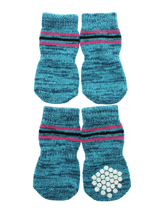 Blue Textured Pattern Pet Socks - These fun and functional doggie socks protect your dogs paws from mud, snow, ice, hot pavement, hot sand and other extreme weather. Made from 95% cotton and 5% spandex making them comfortable and secure. Each sock features a paw shaped anti-slip silica pad and help keep your house sanitary. (set of...