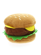 Hamburger Plush & Squeaky Dog Toy - This is one burger that is completely calorie free but still looks delicious, with its juicy burger, lettuce and slice of cheese it is just impossible to resist. For maximum fun pretend it's for you and savour it before handing it over, it will make it all the more desirable. The harder your pup bit...
