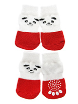 Red / White Panda Pet Socks - These fun and functional doggie socks protect your dogs paws from mud, snow, ice, hot pavement, hot sand and other extreme weather. Made from 95% cotton and 5% spandex making them comfortable and secure. Each sock features a paw shaped anti-slip silica pad and help keep your house sanitary. (set of...