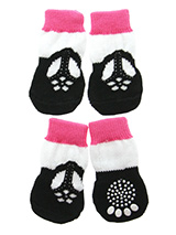 T-Bar Shoe Pet Socks - These fun and functional doggie socks protect your dogs paws from mud, snow, ice, hot pavement, hot sand and other extreme weather. Made from 95% cotton and 5% spandex making them comfortable and secure. Each sock features a paw shaped anti-slip silica pad and help keep your house sanitary. (set of...