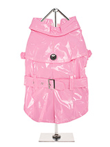 Pink Waterproof Trench Coat  - This iconic high gloss trench coat is a key piece for any winter wardrobe and represents an exciting twist on this classic wardrobe staple. It is 100% waterproof with a leash hole to allow a harness to be worn underneath the coat. This sophisticated yet practical trench coat has a fully adjustable b...