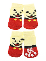 Red / Yellow 'Little Bear' Pet Socks - These fun and functional doggie socks protect your dogs paws from mud, snow, ice, hot pavement, hot sand and other extreme weather. Made from 95% cotton and 5% spandex making them comfortable and secure. Each sock features a paw shaped anti-slip silica pad and help keep your house sanitary. (set of...