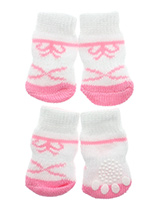Pink / White Bow Tie Pet Socks - These fun and functional doggie socks protect your dogs paws from mud, snow, ice, hot pavement, hot sand and other extreme weather. Made from 95% cotton and 5% spandex making them comfortable and secure. Each sock features a paw shaped anti-slip silica pad and help keep your house sanitary. (set of...