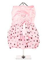 Starry Night Dress - This is an exquisite designer harness dress. Made from highest quality pink satin and three tiers of delicate white chiffon skirting printed with black stars. As a finishing touch a beautiful pink satin bow surrounds the waist. This beautiful dress set comes complete with a matching lead which can b...