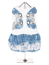 T-Shirt & Blue Denim Dress - This t-shirt dress is one of our more casual designs. However it still retains an element of bling incorporated into the design of the waistcoat which is covered in sequins and featuring four silver buttons with two faux pockets. The skirt has two tiers separated by a band of white lace and is perfe...