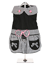 Black Gingham Dress - This Black Gingham designer dress is from highest quality material. It has a stylish collar with two raised roses and features a two tier skirt. One of black gingham with two faux pockets and a black lower tier. As a finishing touch a beautiful black gingham bow trimmed in pink finishes the look. Th...