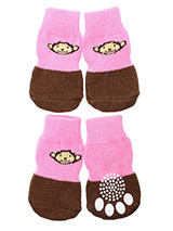 Cheeky Monkey Pet Socks - These fun and functional doggie socks protect your dogs paws from mud, snow, ice, hot pavement, hot sand and other extreme weather. Made from 95% cotton and 5% spandex making them comfortable and secure. Each sock features a paw shaped anti-slip silica pad and help keep your house sanitary. (set of...