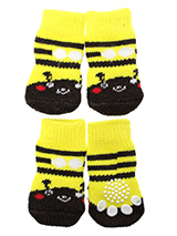 Bumblebee Pet Socks - These fun and functional doggie socks protect your dogs paws from mud, snow, ice, hot pavement, hot sand and other extreme weather. Made from 95% cotton and 5% spandex making them comfortable and secure. Each sock features a paw shaped anti-slip silica pad and help keep your house sanitary. (set of...
