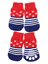 Stars & Stripes Pet Socks - These fun and functional doggie socks protect your dogs paws from mud, snow, ice, hot pavement, hot sand and other extreme weather. Made from 95% cotton and 5% spandex making them comfortable and secure. Each sock features a paw shaped anti-slip silica pad and help keep your house sanitary. (set of...