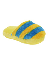 Yellow & Blue Striped Slipper Plush & Squeaky Dog Toy - There is nothing a dog likes more than chewing shoes and slippers, so rather than chew yours let them chew on this fun toy. Cuddly with colourful textures, with an added squeak to entertain your pet! These soft, cute and cuddly toys are designed for your dog to both snuggle and play with.