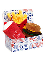 Hamburger Meal Deal Box (3 Toy Combo) - Get your dog a meal deal bargain with our Burger, fries, and milkshake combo! What could be better than a juicy burger with fries all washed down with cool milkshake. For maximum fun pretend it's for you and savour it before handing it over, it will make even more desirable. The harder your pup bite...