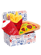 Pizza Slice Meal Deal Box (3 Toy Combo) - Get your dog a meal deal bargain with our Pizza, fries, and milkshake combo! What could be better than a delicious pizza with fries all washed down with cool milkshake. For maximum fun pretend it is for you and savour it before handing it over, it will make it even more desirable. The harder your pu...